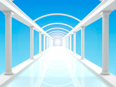 3D illustration of a white colonnade or corridor against the blue clear sky