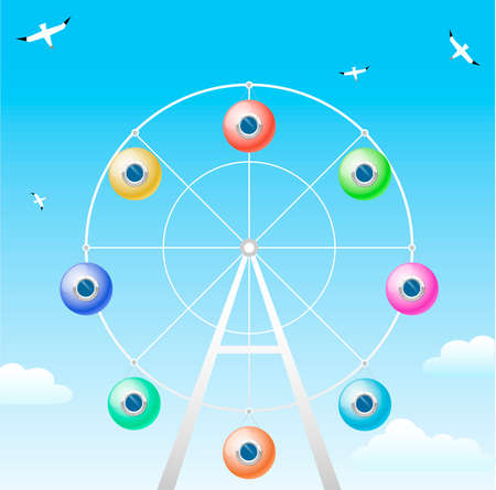 Ferris wheel with cabins in the form of colorful balloons with portholes. Illustration