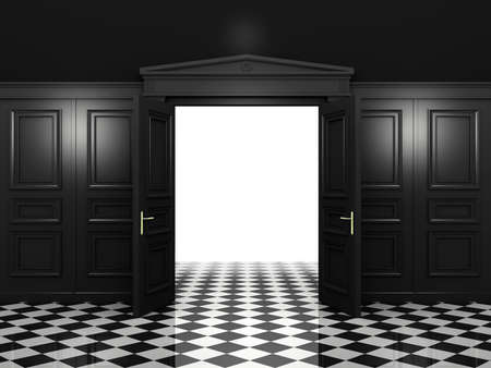 bldg: Black open double doors classic style in a dark interior. 3d illustration in high resolution