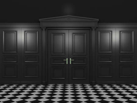 bldg: Black closed double doors classic style in a dark interior. 3d illustration in high resolution Stock Photo