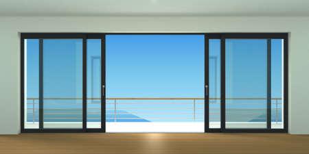 Puerta corredera exterior con dos persianas negras. Especies de ventana panorámica y terraza. Ilustración 3d Foto de archivo - 63861428