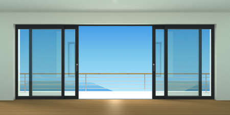 sliding: Sliding exterior door with two black shutters. Species panoramic window and terrace. 3d Illustration