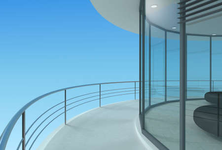 penthouse: Round terrace of a skyscraper office, hotel or penthouse. 3d illustration Stock Photo