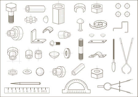 metal drawing: A set of images of different abstract metal parts and tools. The drawing in graphics