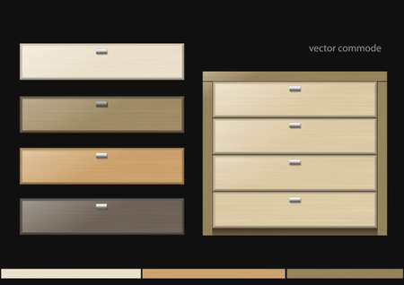 chipboard: Front chest and different boxes of different kinds of wood or chipboard colors.