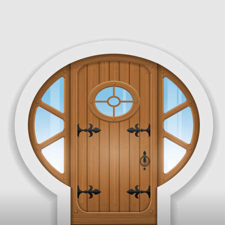 arched: Fairy arched wooden door with round windows. Entrance to the home. Illustration