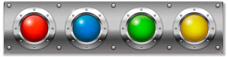 instrument panel: Set of multicolored round buttons, panel ignition on or start the instrument.