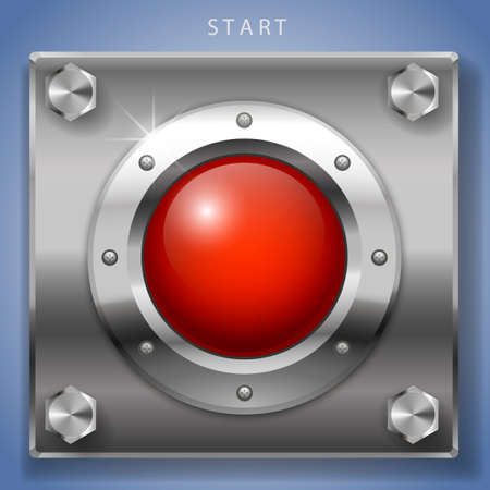 metal plate: Big red round button ignition, turn on or start. Illustration