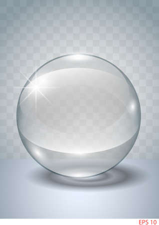 transparent globe: Transparent globe on a plane made of glass or crystal.