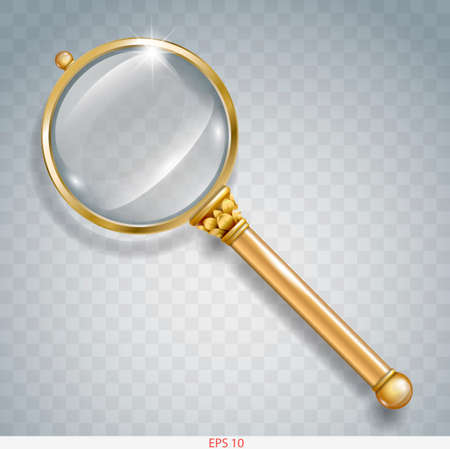 Magnifier for information search of gold with a transparent magnifying glass and transparent shadow in graphics Ilustração