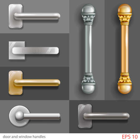 Set of door and window handles in different styles, in graphics with transparent shadows. Banco de Imagens - 63861700