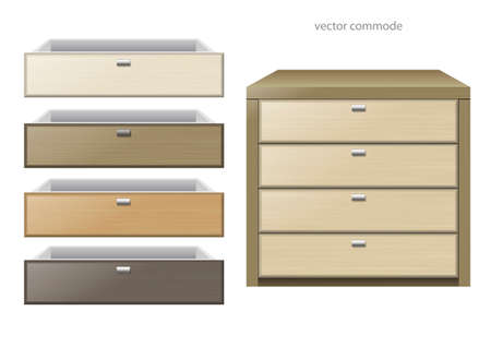 Front chest and different boxes of different kinds of wood or chipboard colors. Vector graphics Ilustração