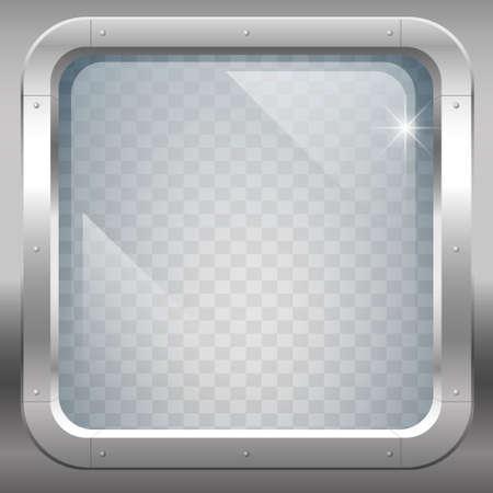 Fantastische Stahlfenster oder Bullauge mit gepanzerten transparentem Glas. Vektorgrafiken Standard-Bild - 68991116