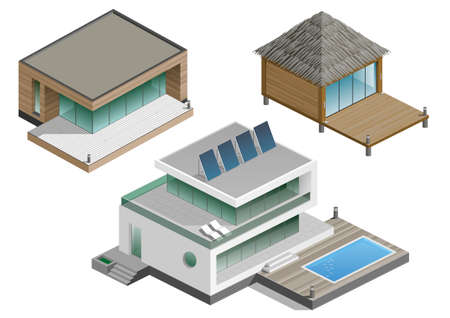 architecture bungalow: Set of modern houses in isometric schemes. Vector graphics