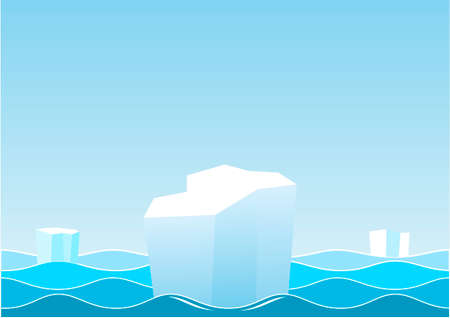 Landscape with the waves of the sea, sky and icebergs, ice floes. Vector graphics.
