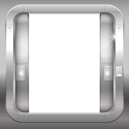 幻想的な鋼の二重扉は、ポータルまたは実験室のバンクを開きます。ベクトル グラフィック 写真素材 - 68991125