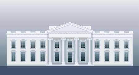 grille: White classic house like the agency or court. Vector graphics
