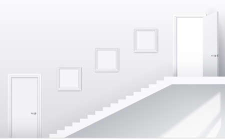 stage door: Interior bright white room with stairs and doors. Vector graphics