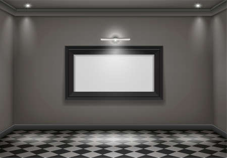 painting on the wall: The interior of a dark room with the lower lights and the big picture. Vector graphics
