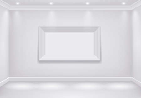 big picture: The interior of a white room with the lower lights and the big picture. Vector graphics Illustration