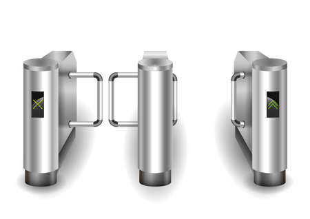 visitors: Input metal turnstile checkpoint for visitors or passengers. Vector graphics