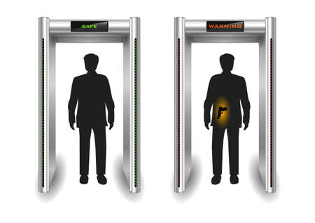 customs: Portal frame metal detector controls for the airport or customs. Vector graphics