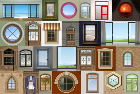 Collage of different windows and doors. 3D illustration