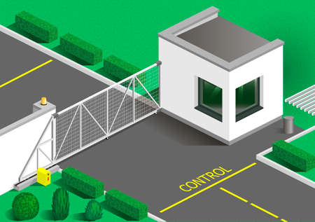 customs: Isometric building guards or customs point. Entry transport zone. Vector graphics