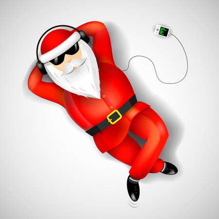 footwear: Santa Claus on headphones with the player resting on the floor.