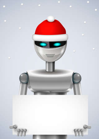 hinge: Robot Santa Claus with a box or banner. Vector graphics