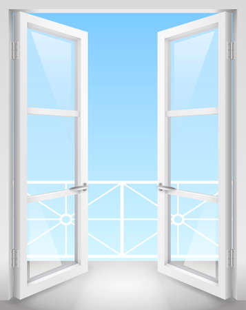 White Classic wooden open doors with transparent glass. Vector graphics
