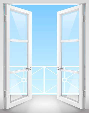 Wit De klassieke houten open deuren met transparante glazen. vector graphics Vector Illustratie