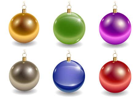 Set of multi-colored glass Christmas tree balls. Vector graphics