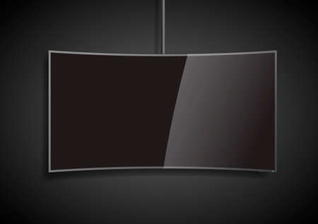 tv screen: Curved black blank screen smart TV. design in vector graphics