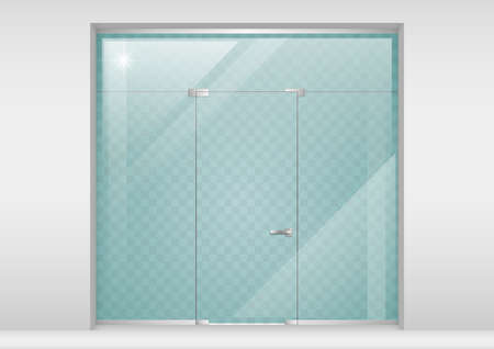 Glass Partition with a door. Modern equipment for the office or shopping center. Showcase. Vector graphics