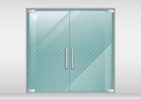 Double glass doors to the shopping center or office. Vector graphics with transparency effect