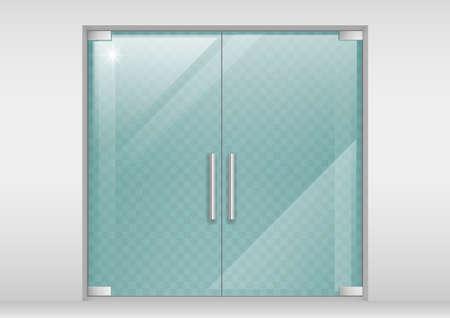 Double portes en verre au centre commercial ou au bureau. Les graphiques vectoriels avec effet de transparence Banque d'images - 66434209