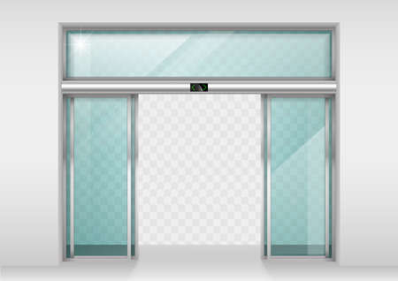 Dobles puertas correderas de cristal con sensor de movimiento automático. La entrada a la oficina, estación de tren, supermercado.