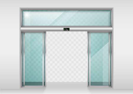 Double portes coulissantes en verre avec détecteur de mouvement automatique. Entrée au bureau, gare, supermarché. Banque d'images - 66776401