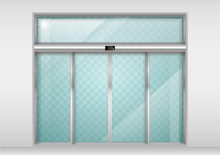 Podwójne drzwi przesuwne szklane z automatycznym czujnikiem ruchu. Wejście do biura, dworca kolejowego, supermarketu. Ilustracje wektorowe