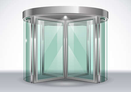 Revolving door shopping center. Vector graphics with transparency effects
