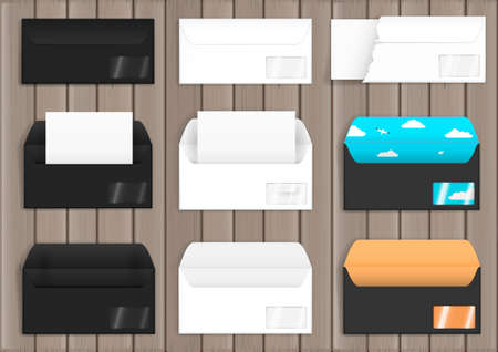 worktops: Set of various paper envelopes, white and black. Mock up. Blanks in vector graphics
