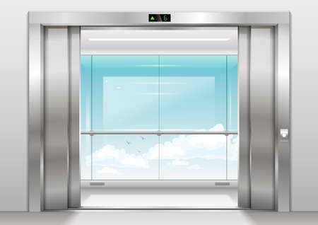 Open Doors panoramic elevator with a glass wall or window. Vector graphics. Glass transparency effect Illustration