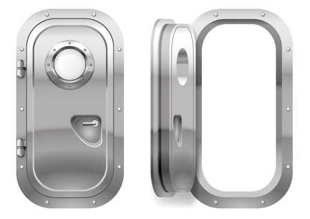 La porte et la fenêtre du navire polissent le métal. Peut-être le compartiment de la porte du sous-marin ou du laboratoire, banque. Armure. Graphiques vectoriels Banque d'images - 67435416