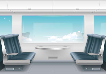 Interior high-speed train or a boat with a passenger compartment and the scenery outside the window. Vector graphics Illustration