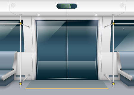 highspeed: Sliding doors of modern subway car with seating for passengers. Vector graphics