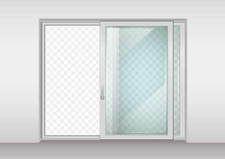 Moderno amplia puerta corredera con cristal transparente. Los gráficos vectoriales. El interior de la habitación. Ilustración de vector