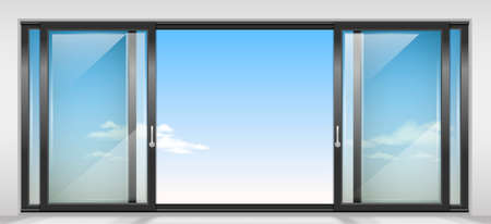 front porch: Modern wide sliding door with transparent glass. Vector graphics. The interior of the room.