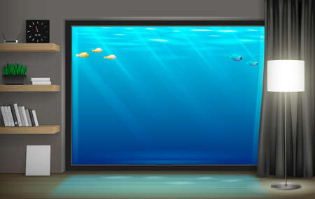 Interior underwater hotel with panoramic window. Vector graphics. Transparent glass