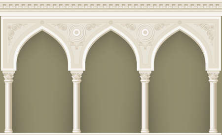 Palais Arcade dans un ancien style oriental. Façade d'un bâtiment classique. Les graphiques vectoriels Banque d'images - 70454795